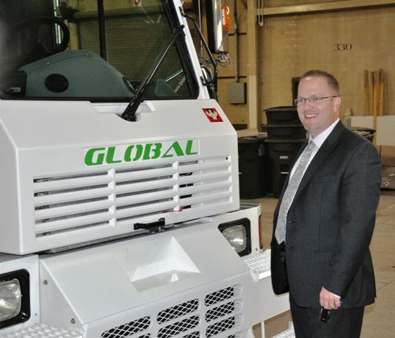 Mayor Sollars with the New Street Sweeper