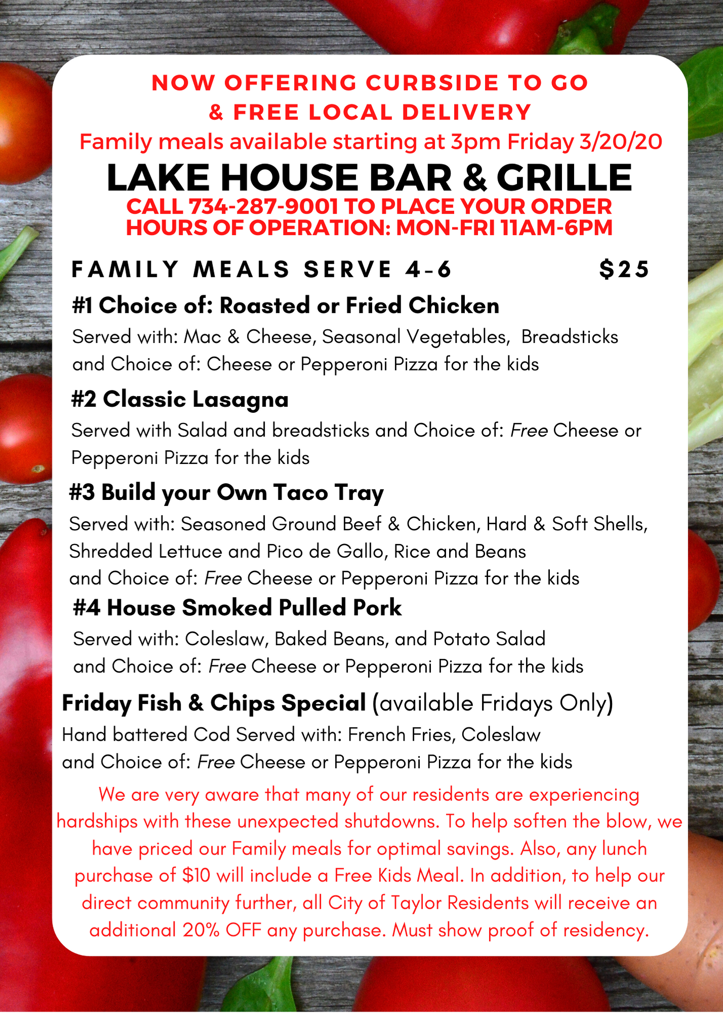 Lakehouse bar and grill menu carry out back